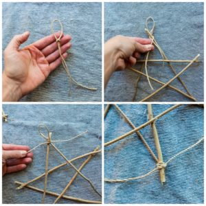 Making a twine loop at the top of the twig star.