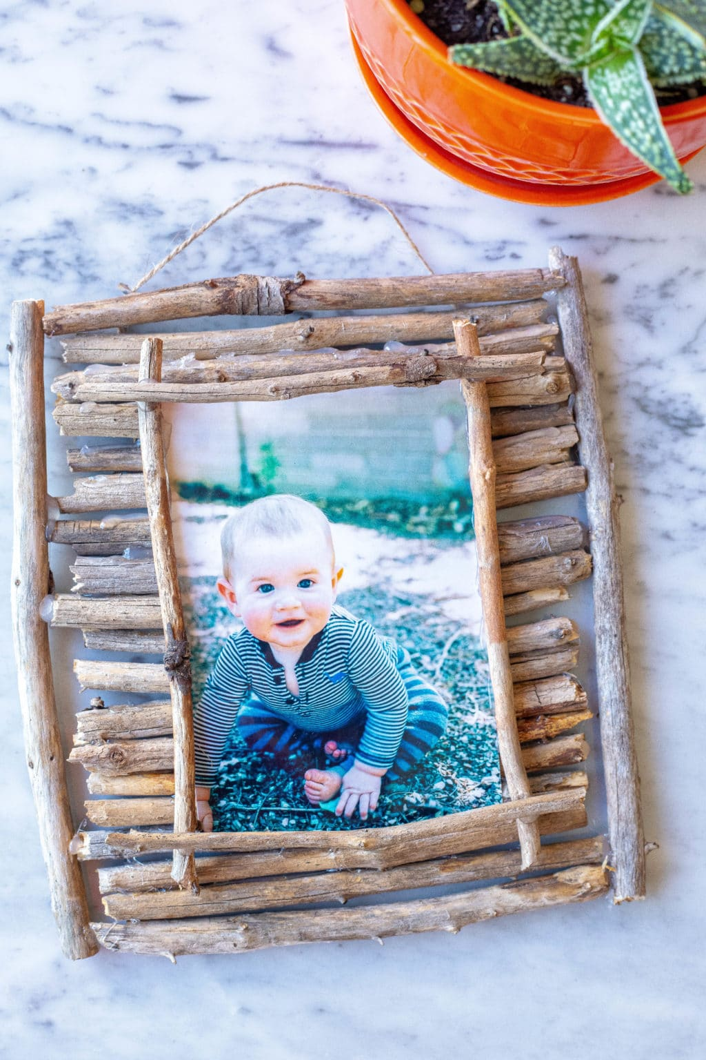 Twig Picture Frame on a table with plant next to it