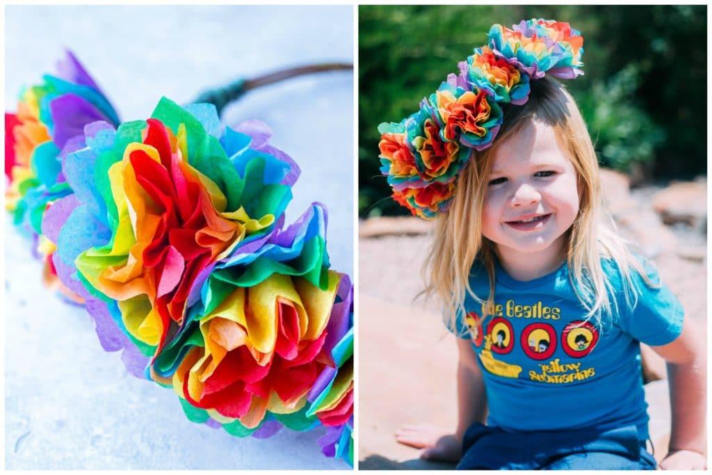 child wearing a rainbow flower crown