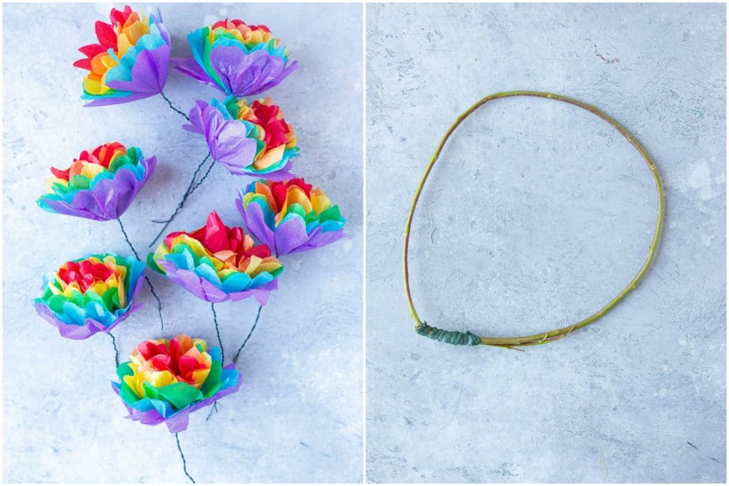 tissue paper rainbow flowers with a headband