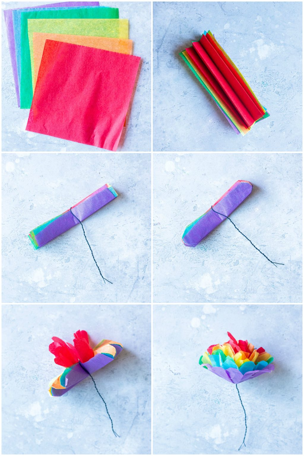 Showing how to make tissue paper flowers in 6 easy steps