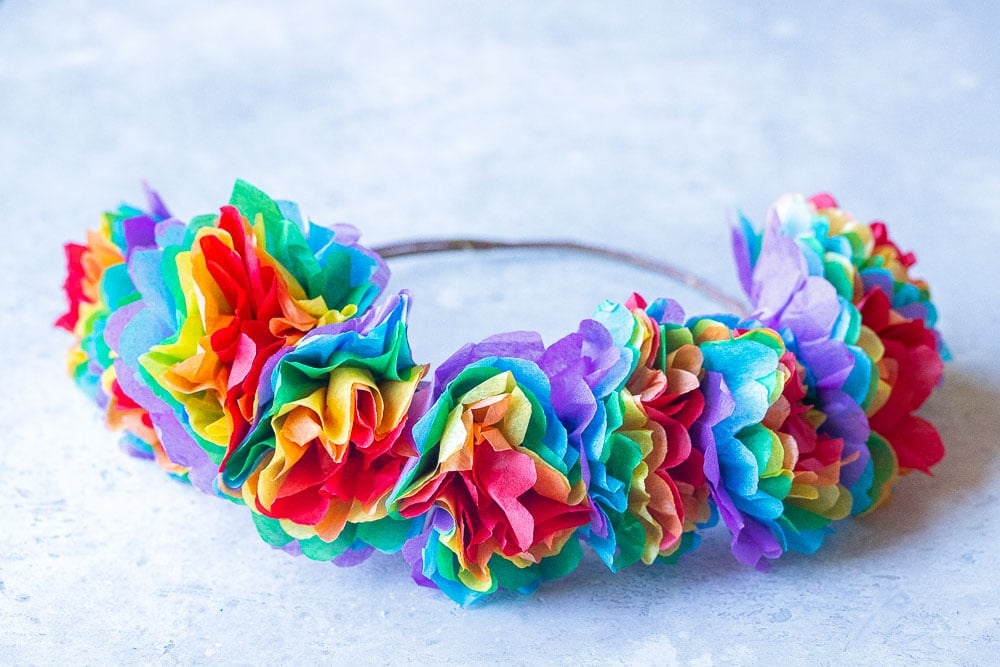 close up of a rainbow flower crown