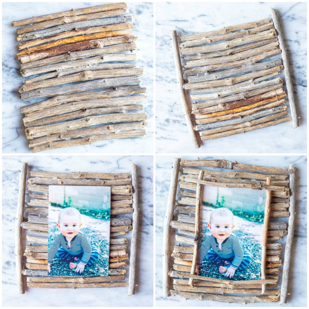 Showing the steps to making these easy twig picture frames