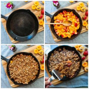 How to assemble the Strawberry Apricot Crisp.