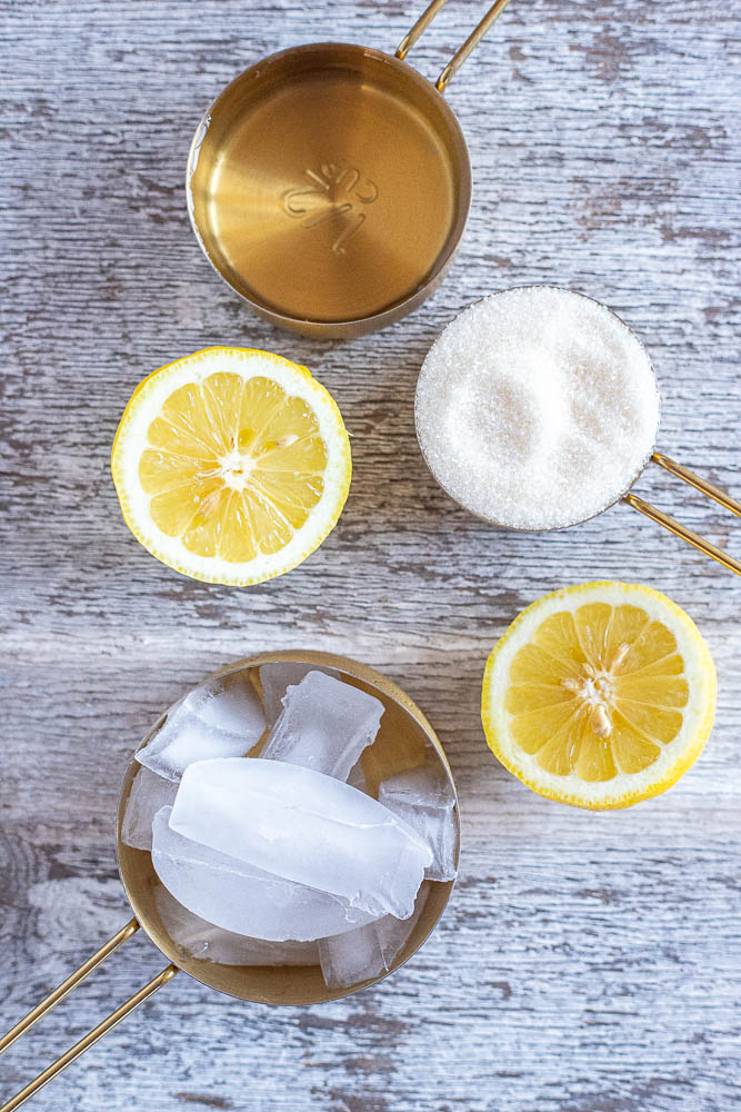 showing all the ingredients you need to make frozen lemonade