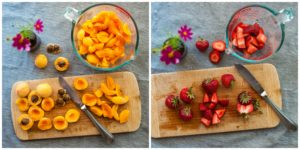 Prepare fresh fruit for Strawberry Apricot Crisp.