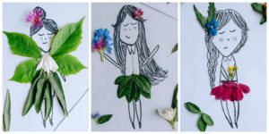 Three completed Nature Paper Dolls.