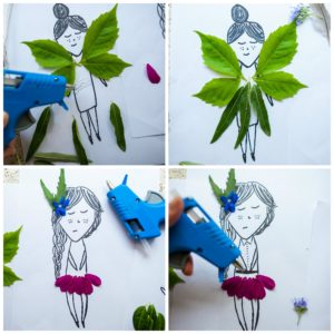 Glue natural materials to a character to make Nature Paper Dolls.