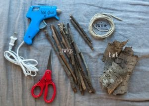 Supplies needed to make a fairy boat.