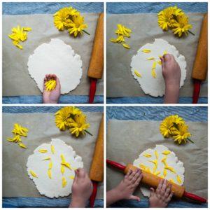 Add fresh flower petals to playdough.