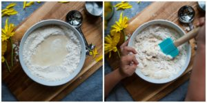 Add wet ingredients to dry ingredients to make playdough.