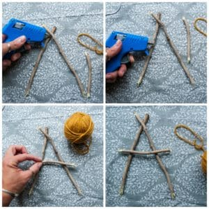Use a glue gun to secure twigs to create letters.