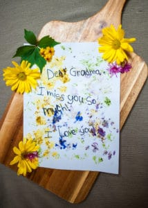 A child's note on Flower Stained Stationary.