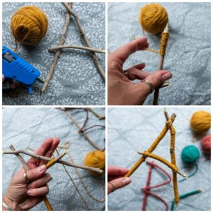 Wrapping twig letters with yarn.