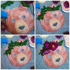 Adding a flower crown to animal masks.