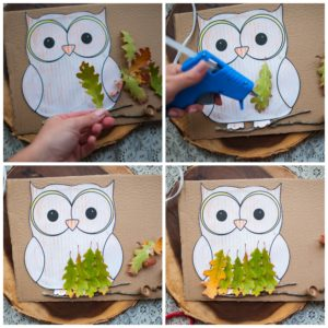 Create owl feathers with oak leaves.