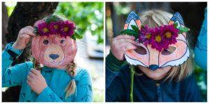 Children wearing woodland animal masks.