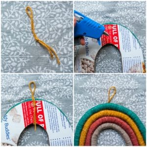 Create a hanger for the rainbow macrame wall hanging.