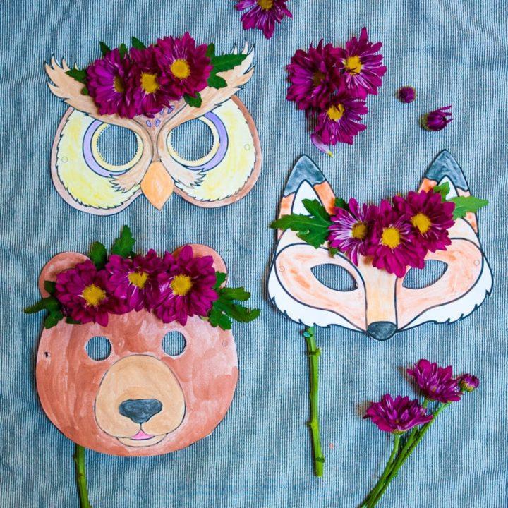 Completed woodland animal masks on display.