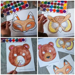 Using watercolor paints to color masks.
