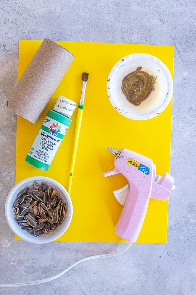items used to make these toilet paper roll sunflower paintings