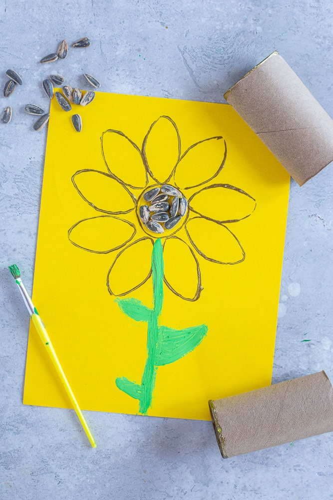 sunflower painting with items used to make them
