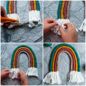 Trim cardboard template and unravel the rope ends.