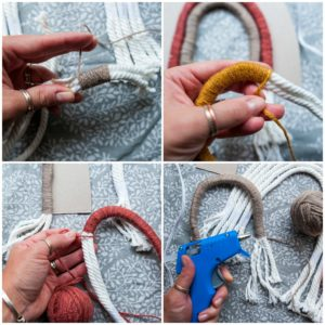 Wrapping yarn around the rope.