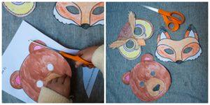 Cutting out animal masks.