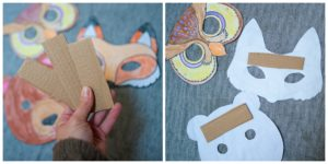 Using strips of cardboard to reinforce paper masks.