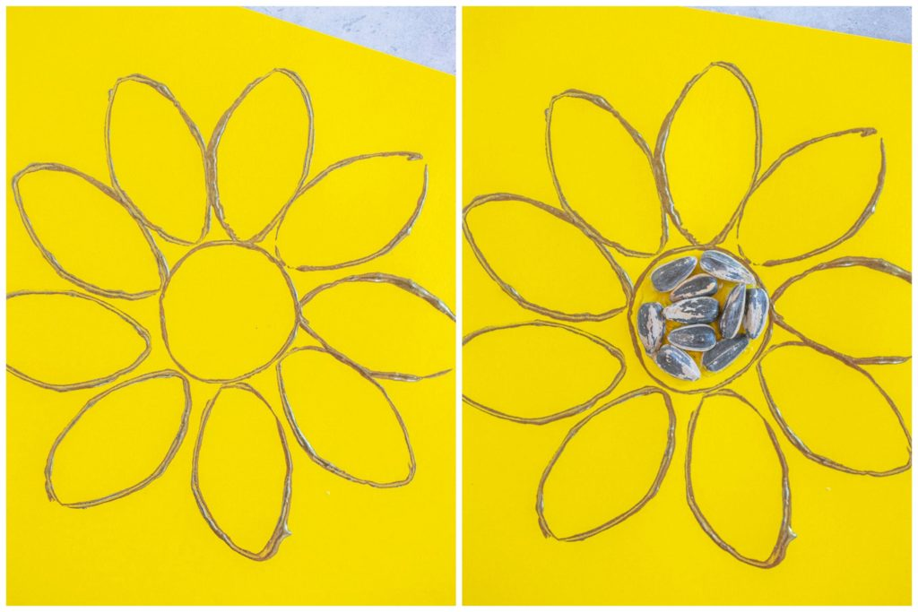 step by step photos showing how to make these sunflower crafts