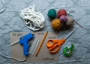 Supplies for macrame rainbows.