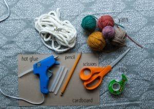 Supplies for macrame rainbows.