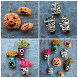 Jack-o-lanterns, mummies, and monster rocks.