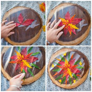 Creating a pattern with autumn leaves.