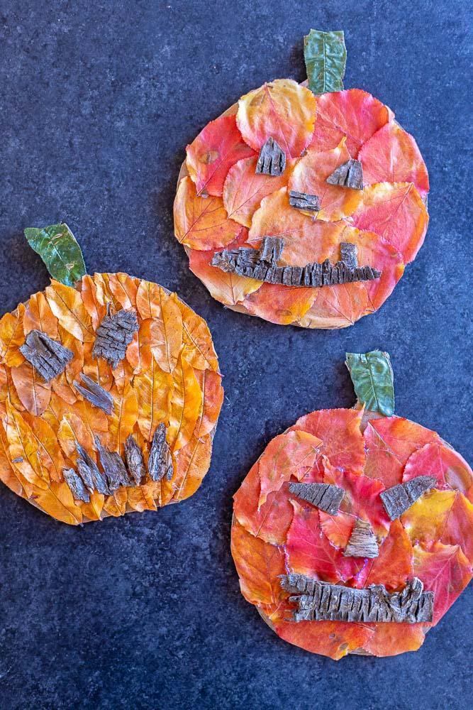 three fall leaf jack-o-lanterns