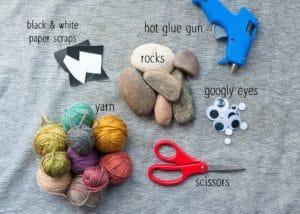 Materials needed to make Halloween Rocks.