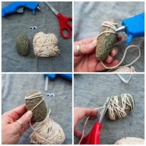 Wrapping a rock with yarn.