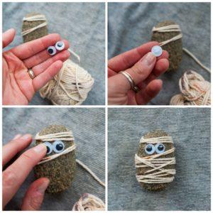 Add eyes to create a mummy.