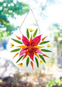 Completed Autumn Mandala Suncatcher hanging in a window.