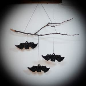 Completed Black Bean Bats Wall Hanging.