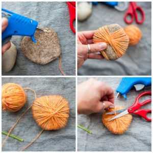 Wrapping a rock with yarn to create a pumpkin.