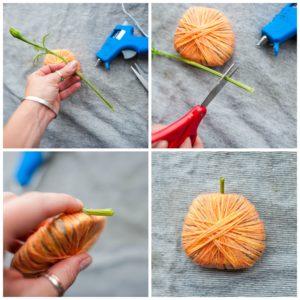 Adding a stem to the pumpkin.