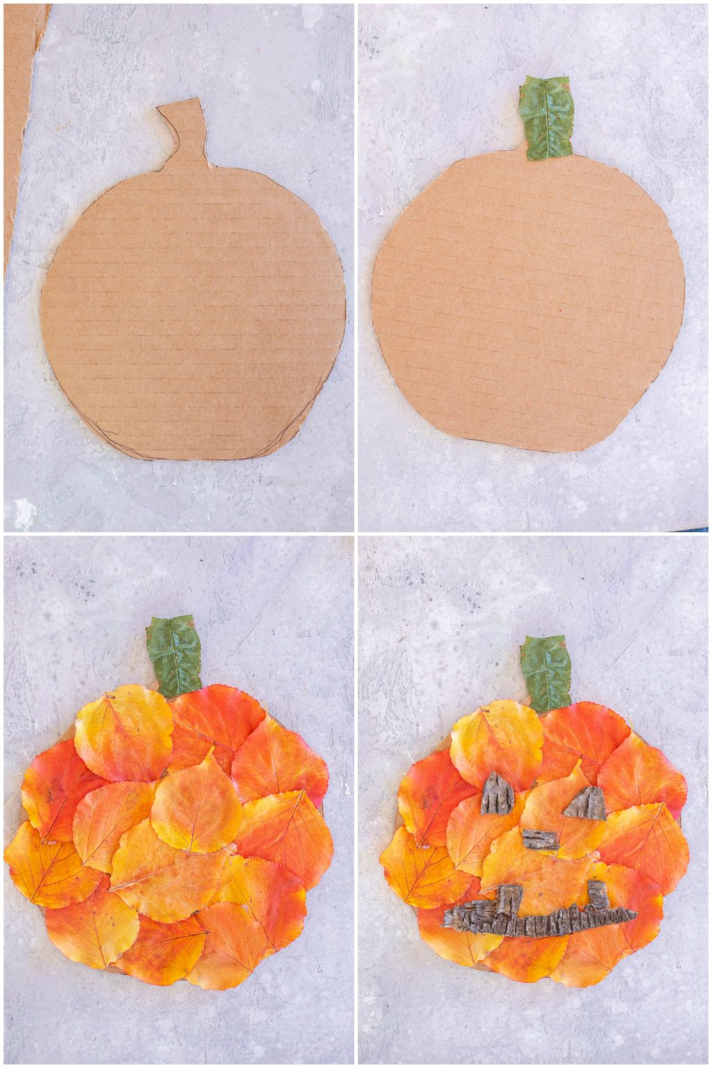 cutout cardboard pumpkins with fall leaves glued on them