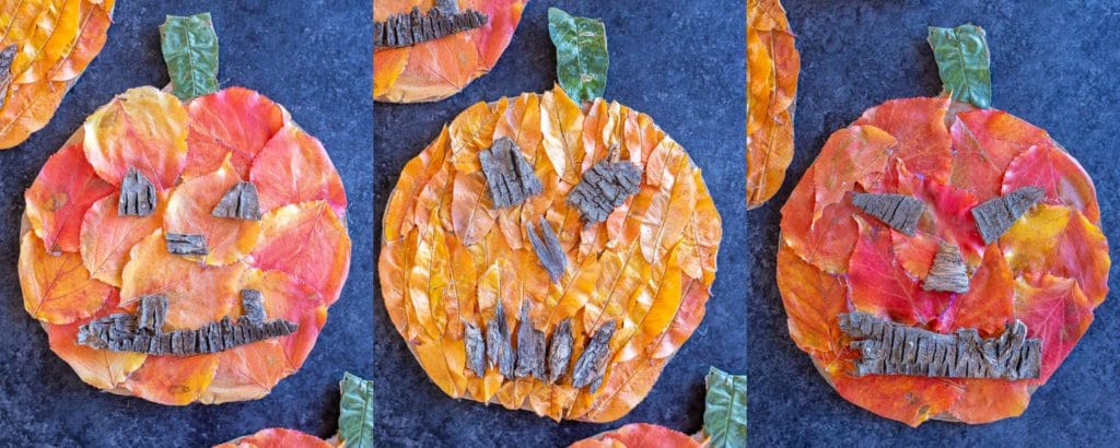 three jack-o-lanterns made with fall leaves