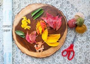 Supplies and materials needed to make an Autumn Mandala Suncatcher.
