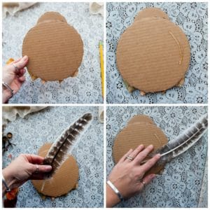Add turkey feathers for the nature turkey's tail feathers.