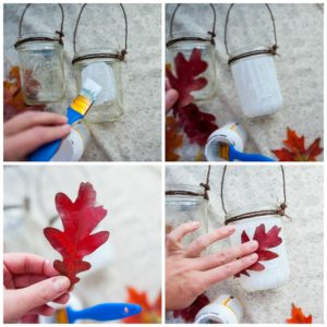 Using fresh fall leaves to decorate fall lanterns.