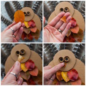 Use an orange leaf for the turkey's beak.