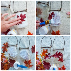 Decorating fall lanterns.